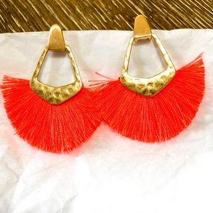 Orange hammered tassel earrings